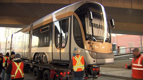 The first of two Bombardier Flexity streetcars is unveiled in False Creek. Dec. 7, 2009. (CTV)