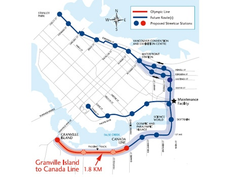 A map of the proposed permanent streetcar line through downtown Vancouver. Dec. 7, 2009. (Bombardier)