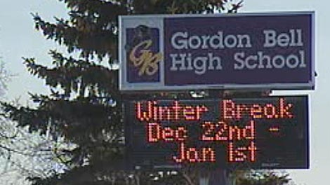 A file photo of Gordon Bell High School in WInnipeg.