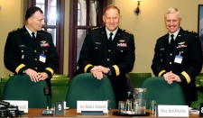 Chief of the Defence Staff Walt Natynczyk (centre) is flanked by Lt.-Gen. Marc Lessard and Major-Gen. Mark McQuillan, right, as they appear at the Commons defence committee on Parliament Hill in Ottawa, Tuesday, Dec. 8, 2009. (Fred Chartrand / THE CANADIAN PRESS)