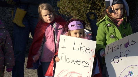Pint-sized protesters from the Huckleberry Home Daycare are on a mission to save the Blodel Conservatory. The group comes once a month to learn about animals.  December 8, 2009.