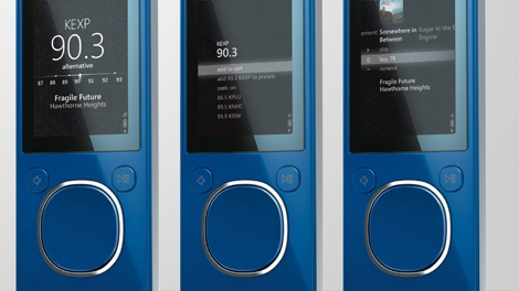 This undated photo released by Microsoft shows the Microsoft Zune portable media player. (AP / Microsoft)