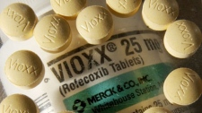 In this Sept. 30, 2004 photo, Vioxx is arranged on a counting tray, laying on top of the bottle, at The Pennington Apothecary in a Pennington, N.J. (AP Photo/Daniel Hulshizer)