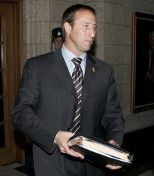 Minister of National Defence Peter MacKay leaves caucus meetings on Parliament Hill in Ottawa, Wednesday, Dec. 9, 2009. (Adrian Wyld / THE CANADIAN PRESS)