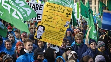 Some of thousands of people demonstrating on the the street in central Copenhagen, Denmark, Saturday, Dec. 12, 2009. (AP / Polfoto, Jens Dresling)