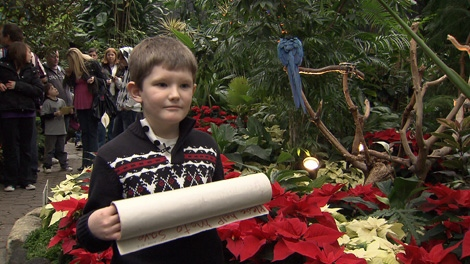 Evan Barclay holds his petition of 100 signatures in the Bloedel Conservatory. Dec. 12, 2009. (CTV)
