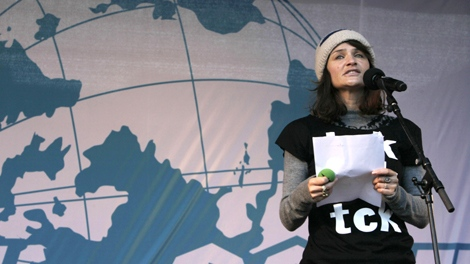 Danish model Helena Christensen addresses demonstrators in the center of Copenhagen Saturday Dec. 12, 2009. (AP / Peter Dejong)