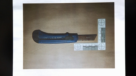 Investigators say Hubbard advanced towards officers with this knife. Dec. 15, 2009.