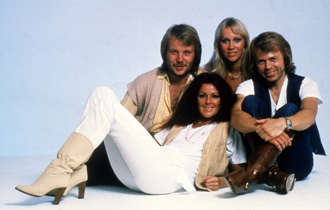 This 1977 photo shows members of Swedish pop group Abba, left to right: Bjorn Ulvaeus, Agnetha (known as Anna) Faltskog, Annifrid (known as Frida) Lyngstad and Benny Anderson.