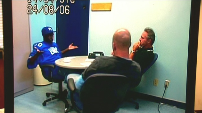 Jeremiah Valentine gestures during an interview with Toronto homicide investigators on Aug. 24, 2006.