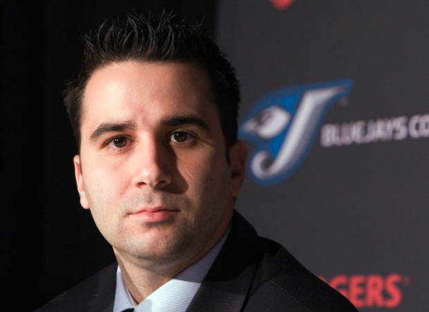Toronto Blue Jays general manager Alex Anthopoulos listens to questions after announcing that the team had traded pitcher Roy Halladay during a news conference in Toronto on Wednesday, Dec. 16, 2009. (Frank Gunn / THE CANADIAN PRESS)