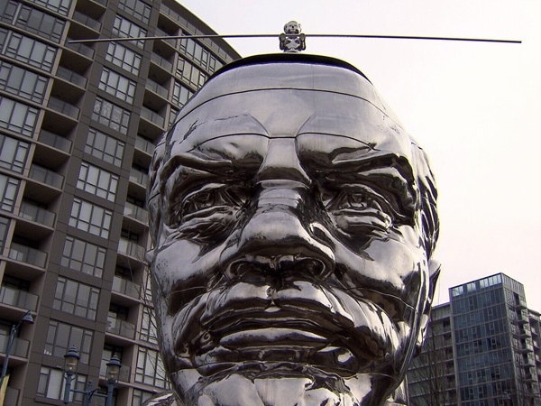 The City of Richmond says a sculpture depicting Lenin and Mao is meant to show support to freedom of expression. Dec. 28, 2009.