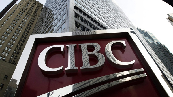 A photograph of the CIBC sign in Toronto's financial district in downtown Toronto on Thursday, Feb. 26, 2009. (Nathan Denette / THE CANADIAN PRESS)