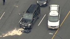 Several cars were damaged during the failed carjacking Tuesday, police said. Dec. 29, 2009. (CTV)