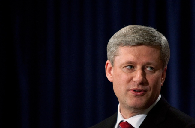 Prime Minister Stephen Harper speaks to reporters during a wrap up press conference following the 2009 United Nations Climate Change conference in Copenhagen, Denmark on Friday, Dec. 18, 2009. (Sean Kilpatrick / THE CANADIAN PRESS)