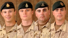 From left to right: Cpl. Zachery McCormack, 21, Pte. Garrett Chidley, 21, Sgt. Kirk Taylor, 28, and Sgt. George Miok, 28, shown in undated photos courtesy of the Department of National Defence.