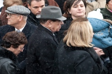 Nicolo Rizzuto Sr., grandfather of Nick Rizzuto leaves the church following funeral services. (THE CANADIAN PRESS/Paul Chiasson)