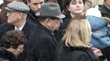 Nicolo Rizzuto Sr., grandfather of Nick Rizzuto leaves the church following funeral services in Montreal, Saturday, Jan. 2, 2010. (Paul Chiasson / THE CANADIAN PRESS)