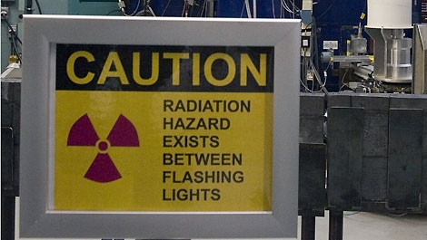 A warning sign outside the nuclear reactor at the Atomic Energy Canada Limited plant in Chalk River, Ontario, Wednesday, December 19 2007. THE CANADIAN PRESS/Fred Chartrand