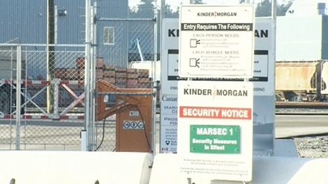 Security signs are shown outside of Kinder Morgan's energy storage terminal in North Vancouver on Wednesday, Jan. 6, 2010.