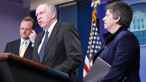 White House Counterterrorism adviser John Brennan, center, accompanied by White House Press Secretary Robert Gibbs, left, and Homeland Security Secretary Janet Napolitano, speaks at the White House in Washington, Thursday, Jan. 7, 2010. (AP / Gerald Herbert)