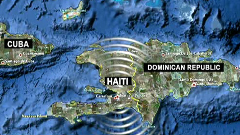 An earthquake, centred 25 kilometres west-southwest of Port-au-Prince, struck Haiti on Tuesday afternoon, Jan. 12, 2009.