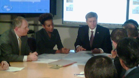 Prime Minister Stephen Harper and Governor General Michaelle Jean get briefed on the situation in Haiti (Roger Smith/CTV News)