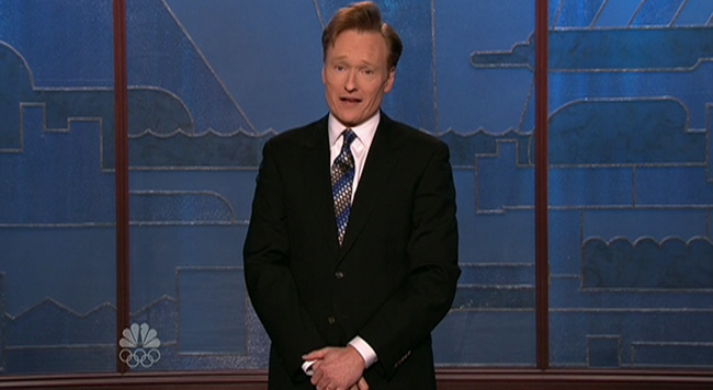 Conan O'Brien delivers his opening monologue on the 'The Tonight Show' on Tuesday, Jan. 12, 2010.