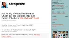 Haitian DJ and TV personality Carel Pedre has been feeding eyewitness reports to news organizations around the world via his Twitter feed.