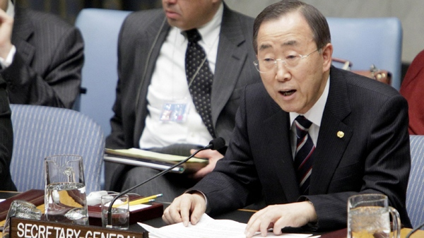 UN Secretary General Ban Ki-moon addresses the United Nations Security Council on the situation in Haiti, Wednesday, Jan. 13, 2010. (AP / Richard Drew)