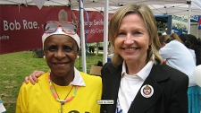 In an undated photo from her website, Toronto Centre Progressive Conservative candidate Pamela Taylor (right) is show with a volunteer at the St. Jamestown festival.
