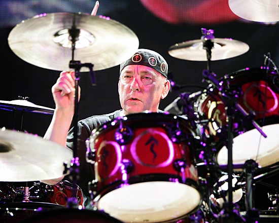 Drummer Neil Peart of the Canadian progressive rock band Rush performs before a sold-out Tweeter Center in Mansfield, Mass., on Wednesday, June 27, 2007, as part of their tour to promote their latest CD Snakes and Arrows. (THE CANADIAN PRESS/AP-Robert E. Klein)