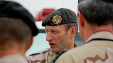 Dutch Maj.-Gen.Mart de Kruif, who is in charge of NATO forces in southern Afghanistan, addresses members of staff prior to a Canadian army change of command ceremony in Kandahar, Thursday Feb. 19, 2009. (Murray Brewster / THE CANADIAN PRESS)