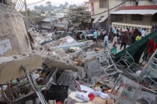 Debris lays in the street after an earthquake along the Delmas road in Port-au-Prince, Haiti, Wednesday, Jan. 13, 2010. (AP / Jorge Cruz)