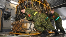 Private Dany Tremblay, with the help of other Traffic Technicians from 8 Wing Trenton, loads several pallets of medical supplies onto a C-177 Globemaster aircraft.  (Warrant Officer Carole Morissette / Department of National Defence)