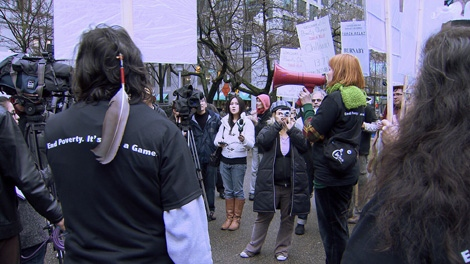 Housing advocates gather at the Vancouver Art Gallery to launch the 2010 Poverty Olympics. Jan. 17, 2010. (CTV)