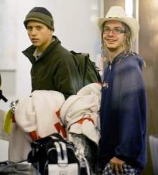 Two of the high school teens from British Columbia who where stranded in Haiti following a devastating earthquake are seen arriving at the Wyndham Hotel in Montreal, Monday, Jan., 18, 2010. (Graham Hughes / THE CANADIAN PRESS)