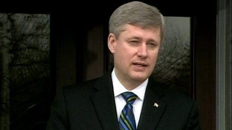 Prime Minister Stephen Harper speaks outside Rideau Hall following the swearing-in ceremony in Ottawa, Tuesday, Jan. 19, 2010.
