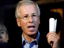 Liberal Leader Stephane Dion speaks to reporters after meeting with his Quebec caucus in Montreal. (CP / Graham Hughes)