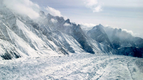 An aerial view of the Siachen Glacier, which traverses the Himalayan region dividing India and Pakistan, is seen on Feb. 1, 2005. (AP / Channi Anand, file)