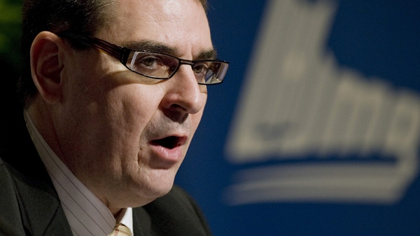 Commissioner of the QMJHL, Gilles Courteau, announces that Rouyn-Noranda Huskies forward Patrice Cormier has been suspended for the remainder of the 2009-2010 season at press conference in Boucherville, Que., on Monday, Jan. 25, 2010. (Peter McCabe / THE CANADIAN PRESS)
