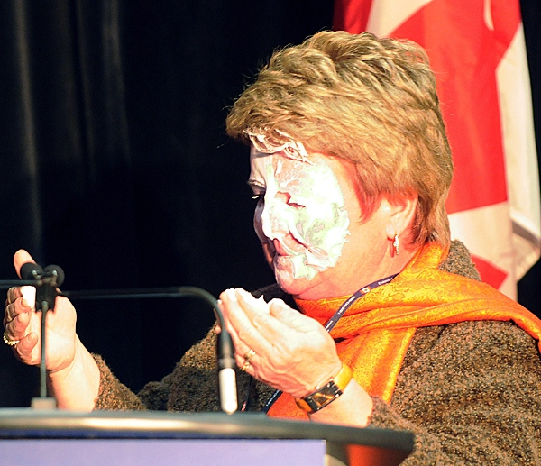 Fisheries Minister Gail Shea moments after being hit in the face with a pie on Monday, Jan. 25, 2010 in Burlington, Ont. (Photo courtesty the Hamilton Spectator)