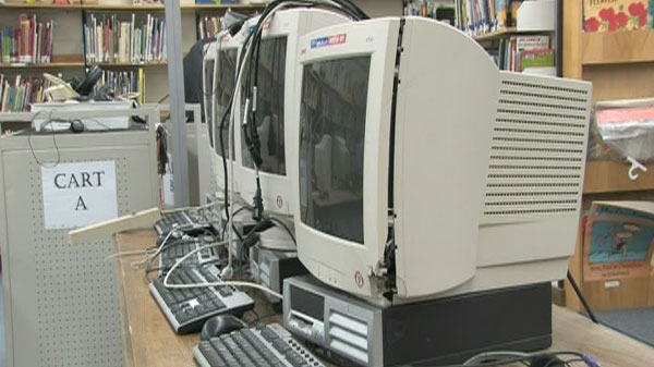 Damaged computers at Robert Little Public School in Acton.