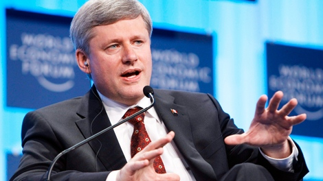 Prime Minister Stephen Harperspeaks during the 40th Annual Meeting of the World Economic Forum,  in Davos, Switzerland, Thursday, Jan. 28, 2010. (AP / Alessandro Della Bella)