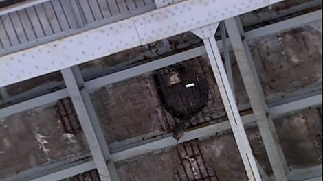 A large hole appeared in the Mercier bridge deck Wednesday evening (Jan. 28, 2010)