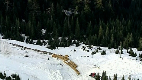 Helicopters have been dropping bales of straw on Cypress Mountain ski slopes to help build corners and jumps for Olympic venues. (CTV)