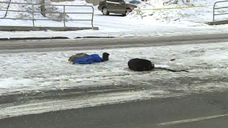 A 13-year-old boy was critically injured when he was struck by a vehicle on Walkley Road in Ottawa, Thursday, Jan. 28, 2010.