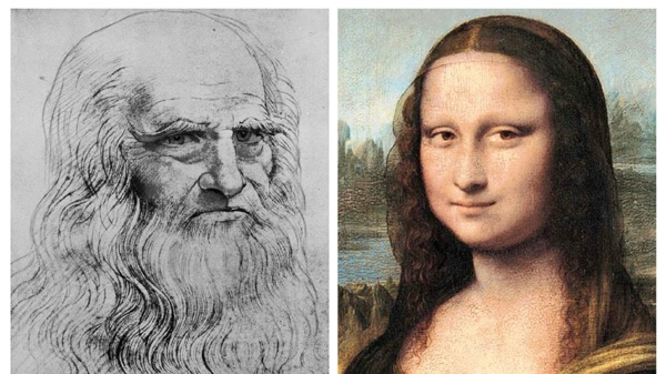 This combination of images shows an undated self portrait of Leonardo Da Vinci, left, and the Mona Lisa. (AP/Reunion de Musees Nationaux de Paris and Journal des Arts)