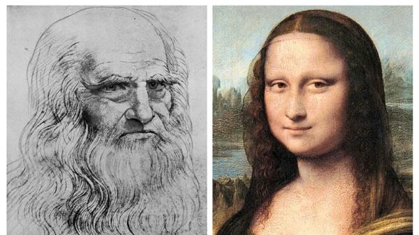 This combination of images shows an undated self portrait of Leonardo Da Vinci, left, and the Mona Lisa. (AP/Reunion de Musees Nationaux de Paris and Journal des Arts)