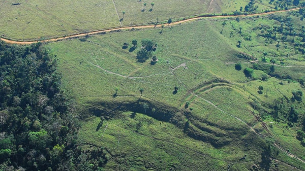 Some of the 260 ancient earthworks located in the Amazon basin by archeologist Denise Schaan and her colleagues, which are challenging traditional assumptions about the region's history. (Courtesy of Denise Schaan)